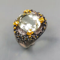 Green Amethyst Ring Silver 925 Sterling Handmade9ct+ Size 8 /R129911