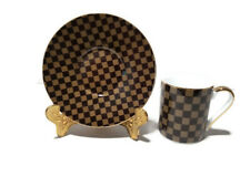 LV- Brown Small Tea, Coffee, Espresso Cup & saucer, set of 6, Gift Set