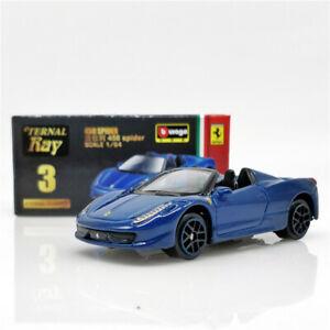 Bburago 1:64 Eternal Ray Ferrari 458 Spider blue Diecast Model Car