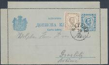 1898 MONTENEGRO PS LETTERCARD UPRATED CETTINJE to GRASLITZ BÖHMEN