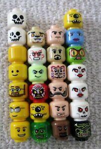 Lot Of 26 LEGO Minifigure Heads: Aliens, Jack Sparrow, Monsters, Skulls, Male