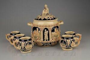 Keramikbowle mit 5 Bechern Unbekannter Hersteller