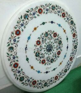 27 x 27 Inches Coffee Table Top with Pietra Dura Art End Table Antique Work