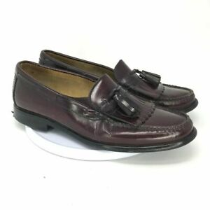 G.H. Bass Mens Weejun Kiltie Tassel 6672 Loafer Shoes Brown Leather Size 9 Penny