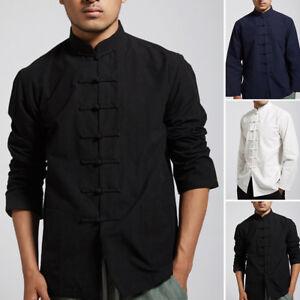 Mens Chinese Tang Suit Uniform Jacket Clothing Traditional Kung Fu Tai Chi Coat