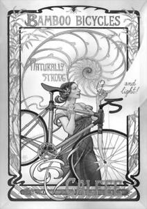 Art Nouveau Bicycle and Woman Black and White  | Vintage Poster | A1, A2, A3