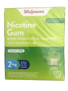Walgreens Nicotine Gum 2mg Mint Flavor 170 Pcs Sugar Free 11/2022
