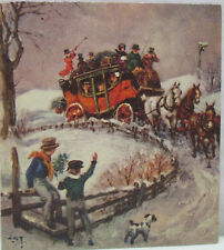 Vintage Christmas Greeting Card Horses Horse Carriage Dog Young Lads USA Used