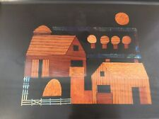 Couroc Plastic Tray - 2 Barns - Inlaid Wood - Mid Century Modern
