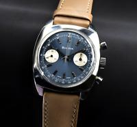 Bulova chronograph blue dial watch chrono Valjoux 7733 666 feet devil style