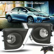 Pair Bumper Driving Fog Lights & H16 Bulbs Switch For Toyota Corolla 2014-2015