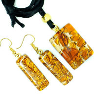 Murano Glass Pendant Drop Earrings Set Orange and Gold from Venice