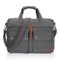 Multi-function Canvas Briefcase Attaché Messenger Bag 17inch Laptop Computer Bag