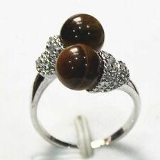 excellent quality Classical 18k white gold filled Crystals Tiger's Eye Ring SZ 8