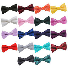 DQT Woven Floral Paisley Wedding Classic Adjustable Mens Boys Pre-Tied Bow Tie