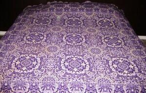 Vtg Jacquard Wool Fringed Reversible Purple Gray White Fringed Bedspread 84 x 85