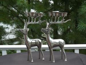 Pair Silver Plated Reindeer Candelabra Candle Holders