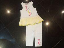 Juicy Couture Blanco Vestido Sin Mangas Top & Leggins Juego Bebé Niña 6/12 MTHS