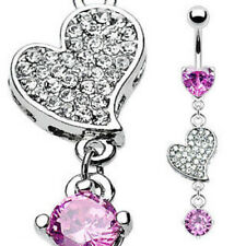 Heart Pink Gem Dangle Belly Ring Navel Naval Paved Cubic Zirconia (w388)
