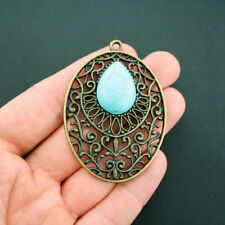 Large Pendant Charm Antique Bronze Tone with Inlaid Faux Turquoise - BC097