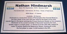 NATHAN HINDMARSH Career Tribute Parramatta Eels  Gold Plaque Free Post
