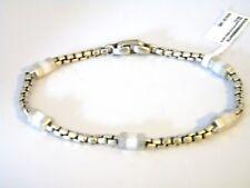 David Yurman Mens Hex Chain Station Bracelet - White Rubber, Sterling Silver NWT