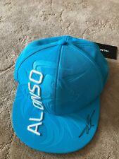 "#14 FERNANDO  ""ALONSO "" SIGNED CAP embossed F1 GP blue flat BRIM Hat Autograph"