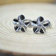 Shiny 925 Sterling Silver PL Cute Little Small Flower 3mm CZ Stud Earrings Gift