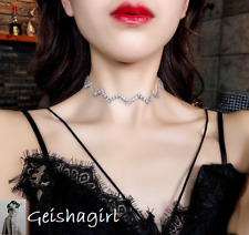 Austrian Crystal CZGem Silver Wave W Zig Zag Choker NecklaceWomen UK Seller