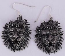 Vintage sterling silver dangle earrings detailed Lion head 3D, large & unique