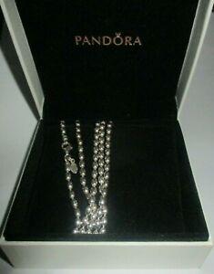 PANDORA necklace - RICE / BALL silver shiny chain - 100cm - 590143 in box