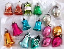 LOT OF 16 VINTAGE MERCURY GLASS FEATHER TREE CHRISTMAS ORNAMENTS TEARDROP BELLS