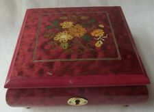 SORRENTO ITALY MARQUETRY JEWELRY MUSIC BOX WITH 18 NOTE SANKYO MOVEMENT