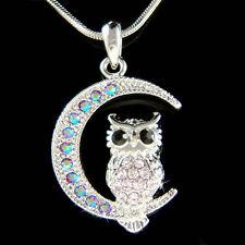 w Swarovski Crystal ~Purple Owl on Moon Hoot Bird Halloween Charm Chain Necklace