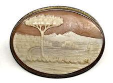 RARE. LATE 1800s SCARCE CARVED CAMEO IN SILVER FRAME COASTAL SCENE (#29)