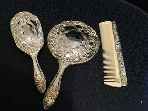Vintage Silver Plated, mirror, comb, brush set in original box
