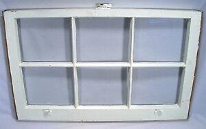 ANTIQUE 6 PANEL RECTANGULAR  WOOD WINDOW DISTRESSED DECORATOR WALL ART PAIR SET