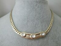 Vintage Attwood & Sawyer Necklace Gold Plated Crystal Snake Link A&S Necklace