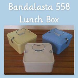 "Original genuine Bandalasta 558 6"" square lunchbox powder blue, ivory, primrose"