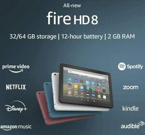 """2020 AMAZON FIRE HD 8 WiFi TABLET 8"""" 32Gb 10th Gen - BLACK WHITE BLUE hd8 Kindle"""