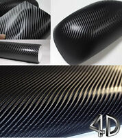 NEW 4D BLACK Carbon Fibre Vinyl Wrap Sheet Film Sticker 30cm x 1.52m