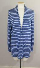 Banana Republic SzXL Blue & Gray Striped Cardi-Cotton / Wool Blend-Nice !