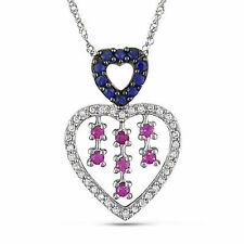 """14k Gold Pink Sapphire and 1/6 Ct TDW Diamond Heart Pendant Necklace 17"""""""