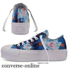 Womens Girls CONVERSE All Star PLATFORM OX FLOWERS Blue Trainers Shoes SIZE UK 4