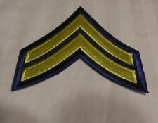 Military Rank Stripes Chevrons Patch 2-Yellow Stripes  on Royal Blue Field NEW