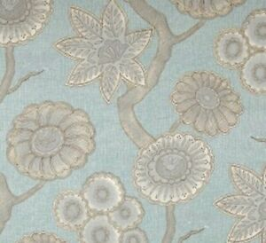 Aqua Chintz Cotton Floral Drapery Upholstery Fabric by P Kaufmann Gloss CL Spa