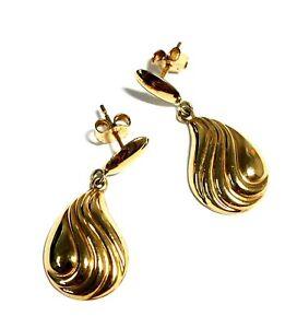 .375 9ct YELLOW GOLD 2 Part Dewdrop Art Deco Stud Earrings, 27mm, 1.24g - E12