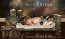 Newborn Baby Wood Log Bed and matching Table Photo Photography Prop / Doll Bed