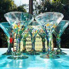 Amici Glassware Confetti Margarita Glasses Goblets Set of 7 Mexico