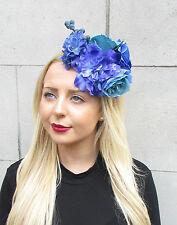 Blue Hydrangea Rose Berry Flower Fascinator Races Headband Headpiece Unique 2317